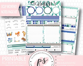 Bloom Monthly Notes Page Kit Printable Planner Stickers (for Erin Condren ECLP) | JPG/PDF/Silhouette Cut File/Blackout Files