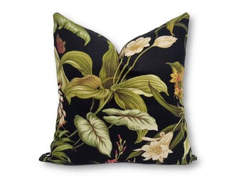 Dark Tropical Cushion Cover, Square Cushion Cover, Indoor Outdoor Cushion, Outdoor Pillow, tropical decor Cushion, Floral Pillow Cover