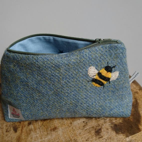 Hand Crafted Harris Tweed pencil case, cosmetic bag