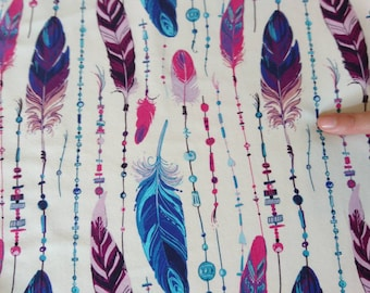 Beautiful colourful feathers French terry, one unit is 0.5 metre