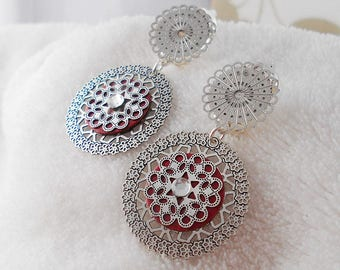 Earring clip red ines (made in France)
