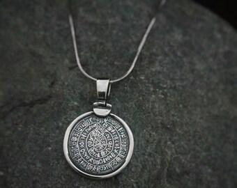 phaistos disc pendant, golden silver 925 phaistos charm, phaistos disc greek jewelry collection, bijoux grec pendentifs, birthday jewel gift
