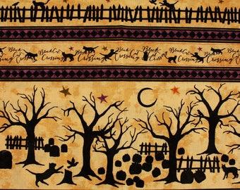Black Cat Crossing Fabric by Maywood Studio by the Half Yard