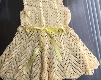 Beautiful light yellow crochet dress.