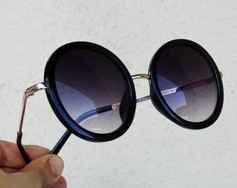 Round sunglasses sun glasses black frame lense shades round frames grunge 90s retro hipster vintage 1990s