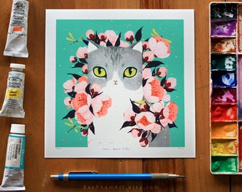 Cherry Blossom Kitty - Limited Edition Print