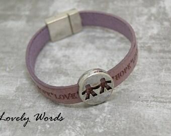 women purple violet leather bracelet LOVE HEART HOPE