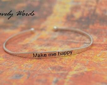 women MAKE ME HAPPY bracelet 925 sterling silver