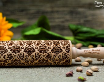 Damask Engraved rolling pin Embossed rolling pin Engraved rolling Embossing rolling pin Damask pattern Wooden rolling pin