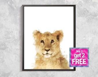 Lion Print, Baby Lion watercolor, Safari print, Wild Animal Decor, Safari Watercolor printable, Nursery animal decor, Safari art