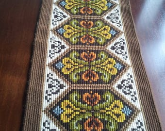 Vintage Sweden wool embroidered tapestry,runner.home decor.1970's