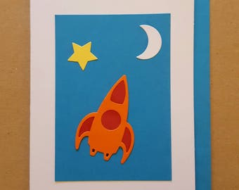 Space. Spaceship, moon, star. Bright colours. Blank inside. Worldwide shipping available