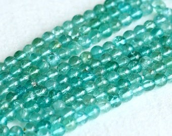 """Wholesale Natural Genuine Clear Blue-Green Apatite Fluorapatite  Round Loose Gemstone Beads 16"""" 05010"""