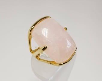 Gold  Ring , Rose Quartz Ring , Wedding acessories , Gemstones Rings, Oversized Ring , Brazilian Stones, Natural Stones, gioielli, Squillare