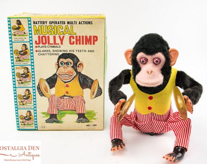 Musical Jolly Chimp | Vintage 1950s Toy | Working w/ Original Box | Daishin CK Japan