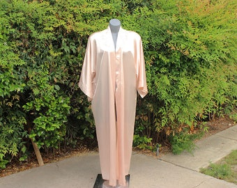 Vintage Robe, California Dynasty, Peach, Long Robe, 1980s, Embroidery, Size Large