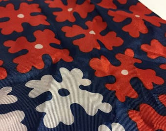 Vintage Scarf - Blue Red - Girly Scarf - Long Scarf - Retro Scarf - Flower