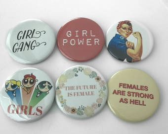 Girl Power Pinback Buttons