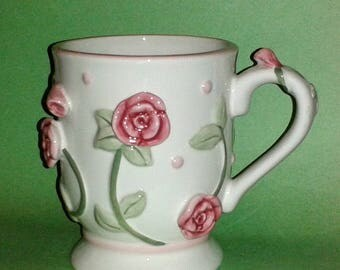 BURTON & BURTON Large 3-D Porcelain Coffee Mug Decorated with Pink Roses - Absolutely Beautiful !