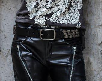 Heavily Studded Black Leather Belt