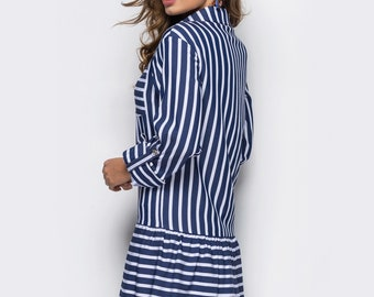 Summer dress striped Spring dresses women Stripy  dress women Cotton dress long sleeve White Dress-shirt Cotton big shirt girl