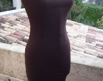 Stretch Maroon deep neckline back dress