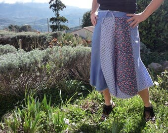 Skirt worn leaf plain and floral patchwork bucket