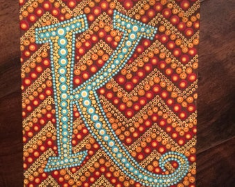 Custom Dotted Letter Initial - Canvas Art - Dorm Decor