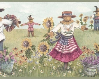 Olive Sunflower Scarecrows Wallpaper Border 3372 CUP