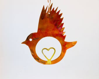 Flame Colored Copper Love Bird with brass heart