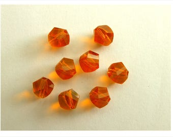 Set of 4 Clementine 4mm Orange Helix Crystal beads