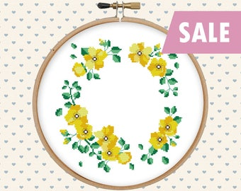 Yellow flower wreath cross stitch  - cross stitch pattern - cross stitch PDF - instant download - pattern pdf - floral wreath pattern