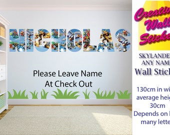 Skylanders wall art sticker ANY NAME Wall Sticker Children's Bedroom xx Large.