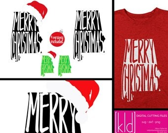4 Alabama Christmas SVG Files - Alabama svg - Merry Christmas svg - Santa Hat svg - State of Alabama Christmas