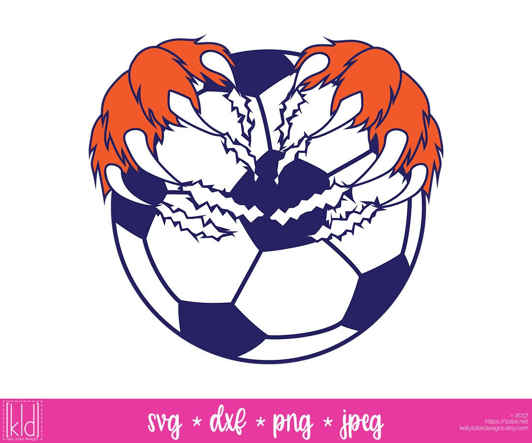 soccer ball with claw mark svg - soccer ball svg - claw mark - cougar svg - bear svg