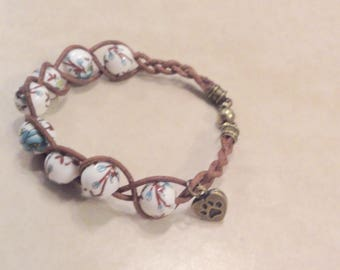 Leather Ceramic Bead Bracelet