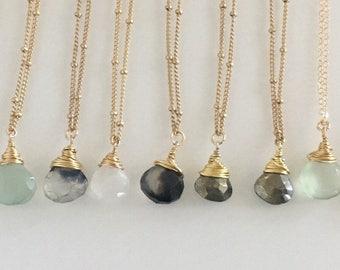 Gemstone briolette chain necklaces