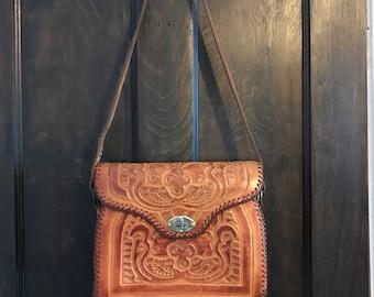 Vintage, Hand tooled Leather Handbag