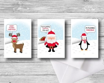 Set of 3 Cute Offensive Christmas Cards - Offensive Funny Xmas cards Cute Xmas Card printable Christmas cards instant download