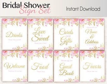 Bridal Shower Sign Set, Bridal Shower Sign Package Set Bundle , Printable Bridal Sign, Bridal Tea Games, Floral Sign, Instant Download