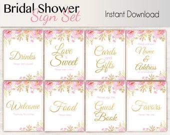 Bridal Shower Sign Set, Bridal Shower Sign Package Set Bundle , Printable Bridal Sign, Bridal Tea Games, Floral Sign, Instant Download