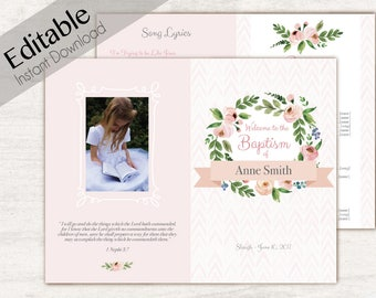 Baptism Program, Editable PDF, Printable Digital Handout Girl Baptism, pink flowers, photo, watercolor, Girl Baptism Template