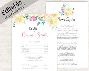 Baptism Program, Editable PDF,  Printable Digital Handout Girl Baptism, yellow flowers, Girl Baptism, Baptism Program template, pink yellow