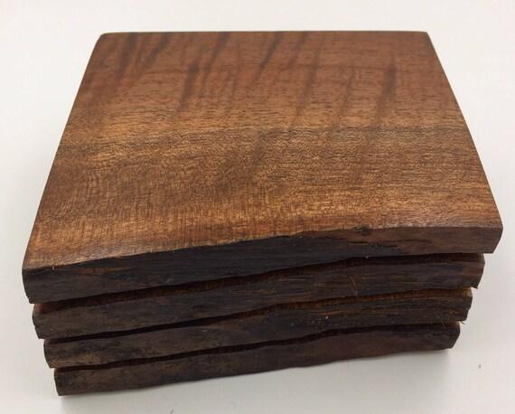 Live Edge Flame Walnut Wood Coasters - Set of 4