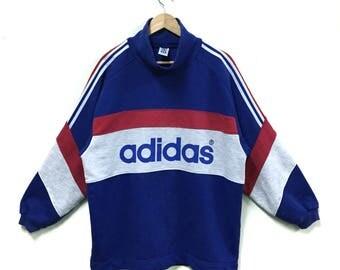 Rare!!! Adidas Sweatshirt Turtleneck Adidas Big Logo Spellout Adidas France