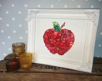 Red Apple Decoration Red Apple Red Apple Wall Art Kitchen Decoration Red Juicy Apple Button Art Red Apple Swarovski Crystals