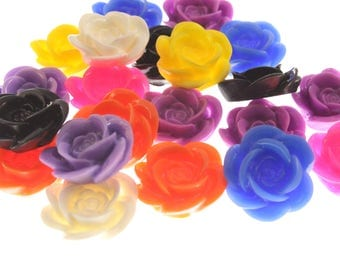 18mm Resin Cabochon Flowers - Lot of 20 mixed