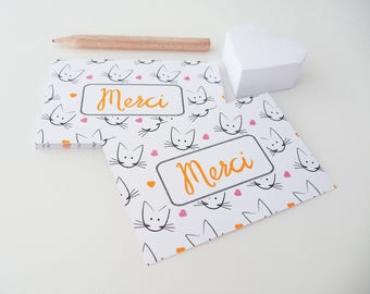 Set of 18 thank you cards illustrated with cats and hearts