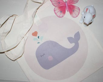 Tote bag 100% cotton Heart Whale