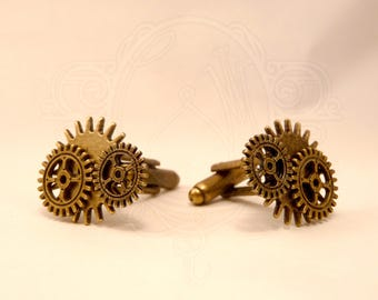 Cufflinks inspired steampunk color bronze